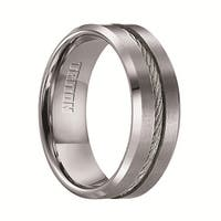 CURTIS Tungsten Wedding Band with Steel Cable Inlay by Triton Rings - 8mm