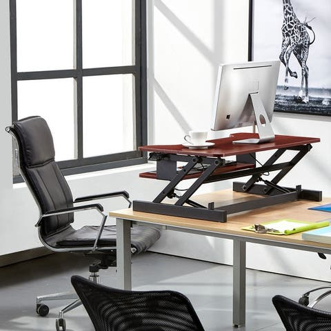"""Boonliving Adjustable Desk Sit & Stand Computer Riser for Home and Office - Ergonomic Workstation with Keyboard Tray, 31.5"""" Wide"""