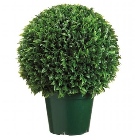 Allstate Floral LPB415-GR 29 in. Plastic Italian Bayleaf Ball Topiary in Pot Green
