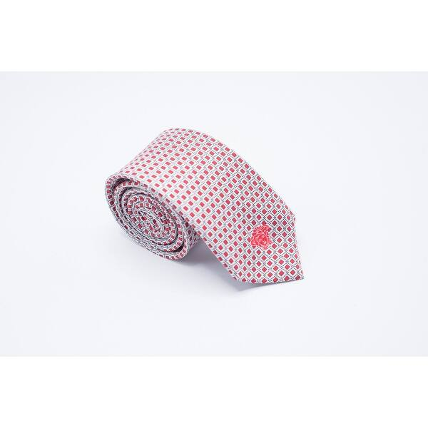 46416c66 Versace Mens Red Square Print Bordered Medusa Accent 100% Silk Slim Tie - S