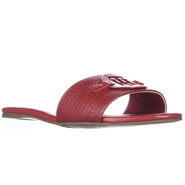 cc863d00b883 Shop Tommy Hilfiger Womens FABRE Leather Open Toe Casual Slide ...