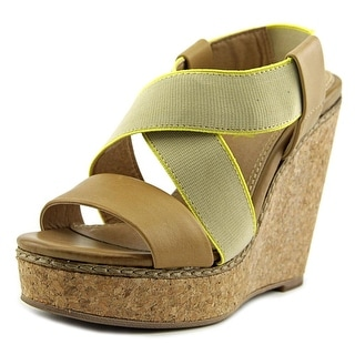 Splendid Kellen Women Open Toe Leather Tan Wedge Sandal
