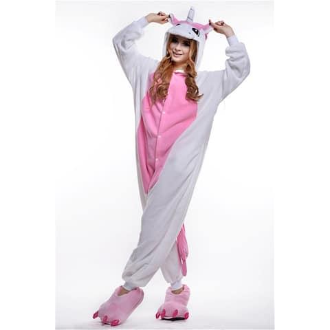 Unisex Adult Pajamas Cosplay Costume Animal one-piece Sleepwear Suit - Pink - S