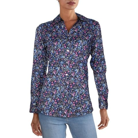 Foxcroft NYC Womens Tunic Top Button Down Floral - Multi