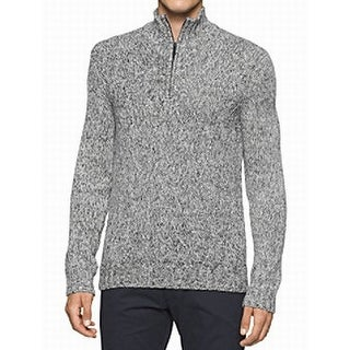 Calvin Klein NEW Black Mens Size XL Mock Neck Pullover 1/2 Zip Sweater