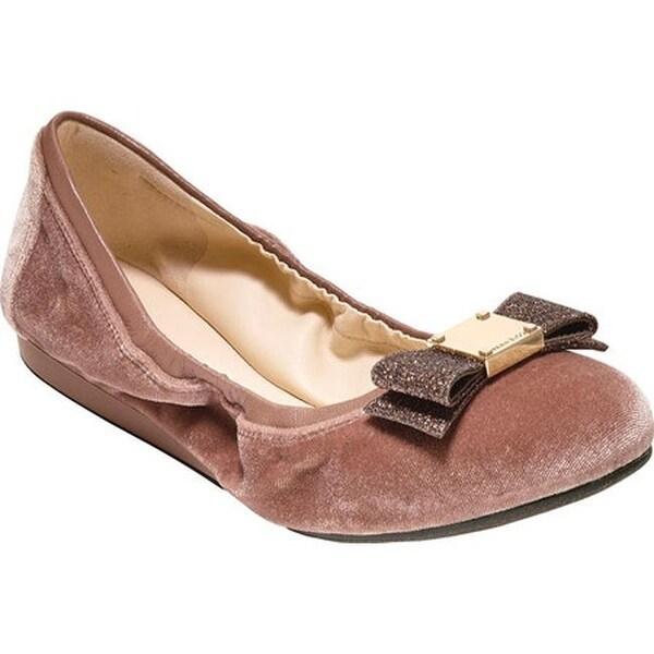 e545dee48c486 Shop Cole Haan Women s Tali Bow Ballet Flat Nude Velvet Glitter - On ...