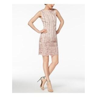 CALVIN KLEIN Beige Sleeveless Mini Sheath Dress  Size 14