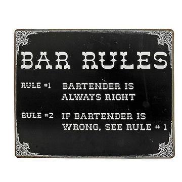 Bartender Bar Rules Tin Sign