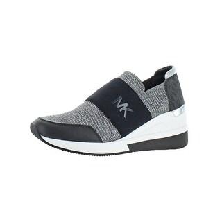 MICHAEL Michael Kors Womens Felix Trainer Fashion Sneakers Glitter Wedge