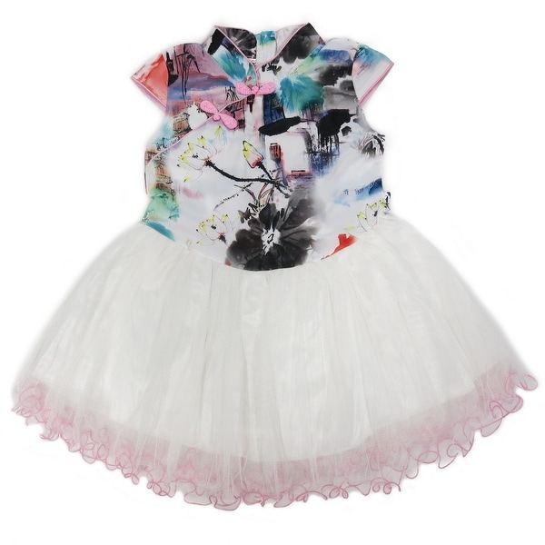 e869feee2e253 Wenchoice Little Girls Pink White Chinese Printing Silk Tulle Cheongsam  Dress