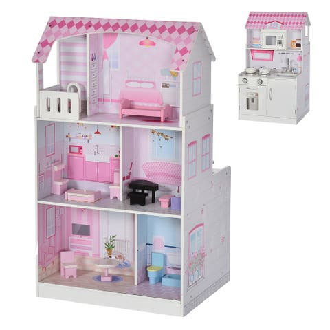 Qaba 2-in-1 Multifunctional Kitchen & Dollhouse Toy for Kids & Toddlers with Included Accessories, & Simulated Design