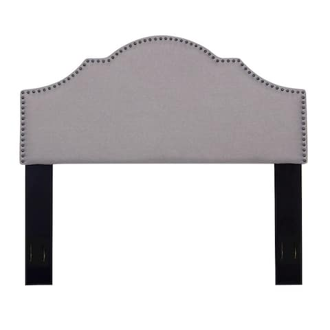 Contemporary Full/Queen Nailhead Upholstered Fabric Headboard