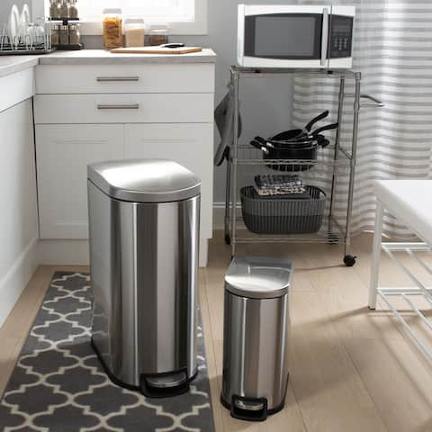 Neu Home 2 Pack 40 Liter and 10 Liter Dust Bins in Stainless Steel