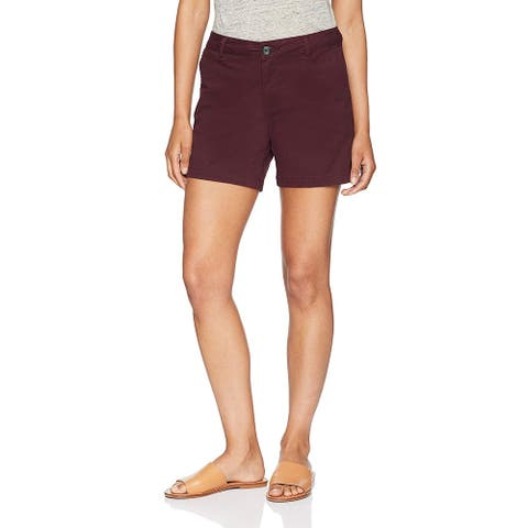 "Essentials Women's 5"" Inseam Solid Chino Short Shorts, -burgundy, 8"