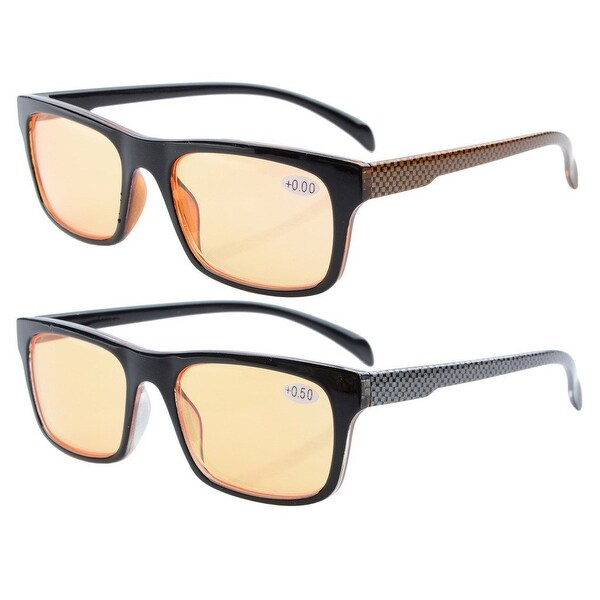 Eyekepper SuperPak 2 Frame Orange Tinted Lenses Computer and Gaming Eye Strain Relief Glasses +3.5