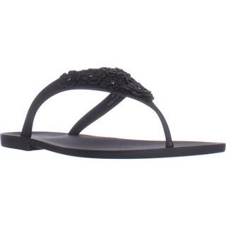 Nine West Vlora Flat Thong Jelly Sandals, Black