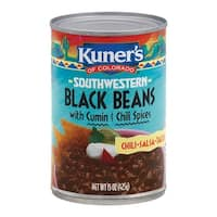 Kuner Black Beans - Cumin and Chili Spices - Case of 12 - 15 oz.