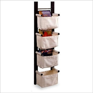 Espresso Beechwood STORAGE/ MAGAZINE RACK WITH CANVAS BASKET