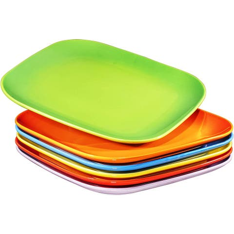 """Bruntmor 10"""" Square Dinner Plates, Ceramic Dinner Dishes That Are Chip Resistant Microwave, Oven and Dishwasher Safe"""