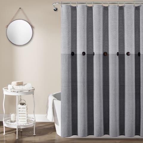 Lush Decor Farmhouse Button Stripe Yarn Dyed Woven Cotton Shower Curtain