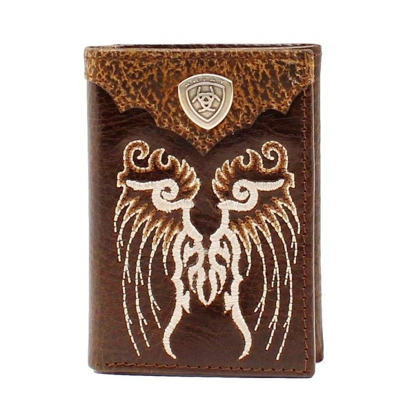 Ariat Western Wallet Mens Trifold Overlay Leather Logo Shield - One size