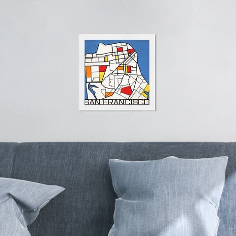 Oliver Gal 'San Francisco Solid Color Map' Maps and Flags Wall Art Framed Print US Cities Maps - White, Red