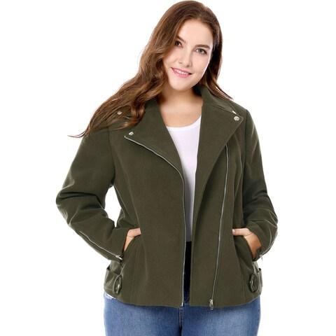 Allegra K Women Plus Size Convertible Collar Inclined Zip Closure Moto Jacket - Green