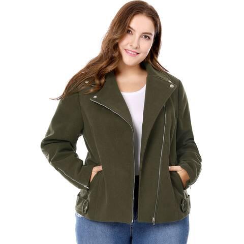 Unique Bargains Women Plus Size Convertible Collar Inclined Zip Closure Moto Jacket