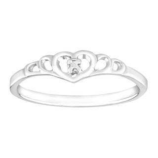 Petite Heart Ring with Diamond in 10K White Gold