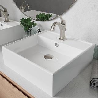 Link to Kraus 3-in-1 Set White Square Ceramic Vessel Sink Arlo Faucet w/ Drain Similar Items in Sinks