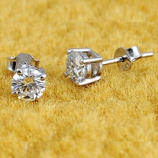 Moissanite Sterling Silver Round Stud Earrings by Sparklezz