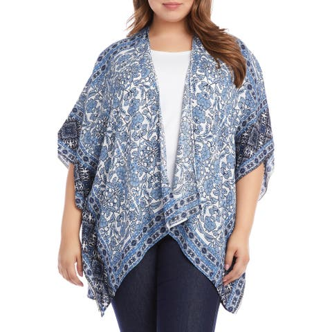 Karen Kane Womens Jacke Blue Size 2X Plus Floral Drape Front Kimono