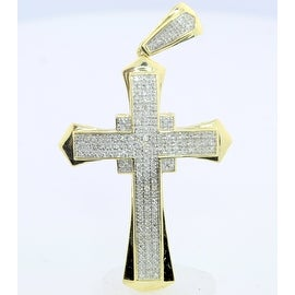 10k Gold Cross Pendant Charm with 0.48Cttw Diamonds Pave Set 55mm Tall By MidwestJewellery - White