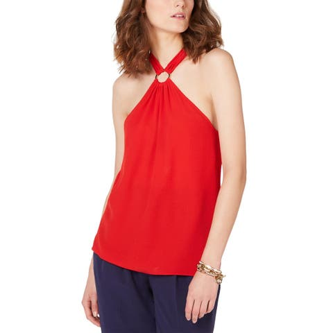 MICHAEL Michael Kors Womens Embellished Halter Top X-Large Scarlet Red