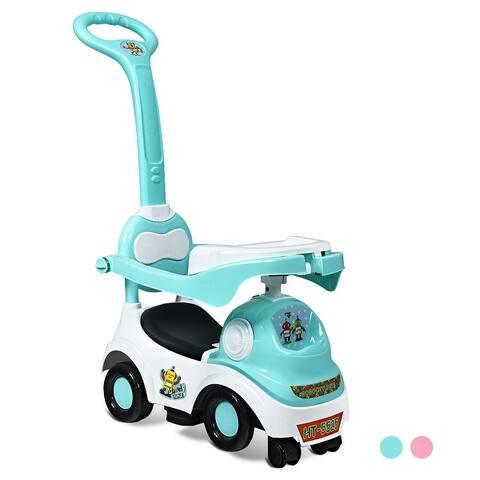 Costway 3 In 1 Kids Ride On Push Car Stroller Toddler Walking Car Dining Plate GreenPink