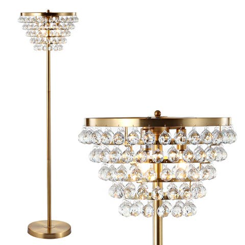 """Jemma 60"""" Crystal/Metal LED Floor Lamp, Brass Gold / Clear by JONATHAN Y - Brass Gold - 60"""" H x 16"""" W x 16"""" D"""