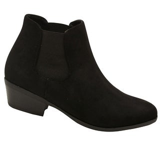 Bella Marie Adult Black Side Elasticated Insert Trendy Ankle Boots