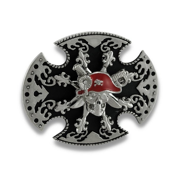 Black and Chrome Pirate Skull Iron Cross Spinner Belt Buckle