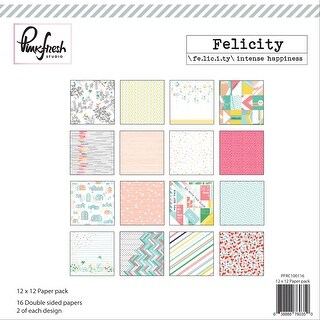 "Pinkfresh Studio Double-Sided Paper Pack 12""X12"" 16/Pkg-Felicity, 8 Designs/2 Each"