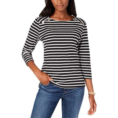 Tommy Hilfiger Womens Ainsly Pullover Top Cotton Mixed Media