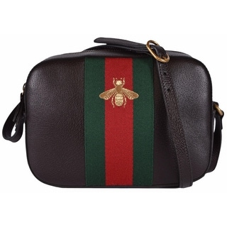 Gucci Women's 412008 Brown Leather Red Green Web BEE Crossbody Purse Bag
