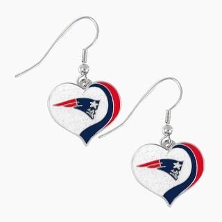 New England Patriots NFL Glitter Heart Earring Swirl Charm Set