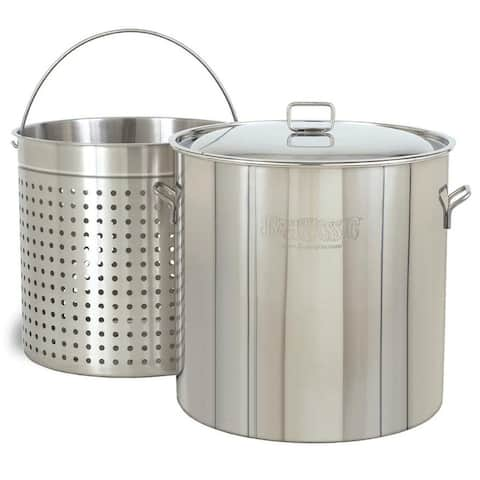Bayou Classic 62-quart Stainless Stockpot with Steamer Basket