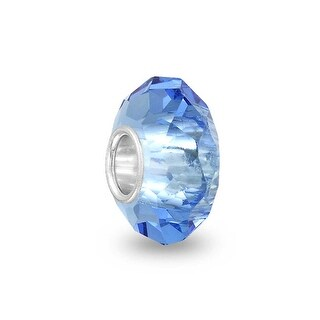 Bling Jewelry Blue Faceted Crystal Imitation Topaz glass Charm Bead .925 Sterling silver