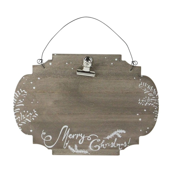 """7"""" x 9.5"""" Shimmering White and Brown """"Merry Christmas"""" Hanging Wooden Photo Frame"""