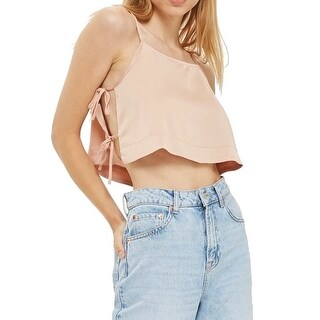 TopShop NEW Beige Nude Women's Size 10 Crop Side-Tie Cami Blouse