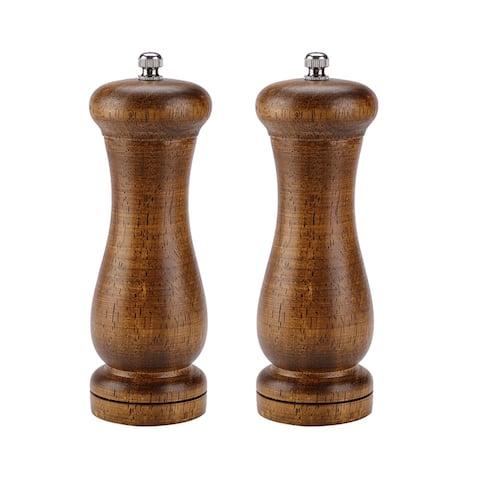 Salt and Pepper Grinder Wooden Mills Shakers w Adjustable Coarseness