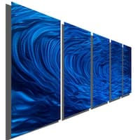Statements2000 Large Metal Art Panels Wall Hanging Sculpture Painting by Jon Allen - Blue Ripple Effect