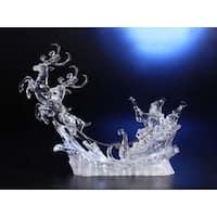 "Icy Crystal Decorative Illuminated Christmas Santa ""Up, Up, and Away"" Figure 15"""