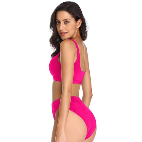 Dixperfect Two Pieces Bikini Sets Swimsuit Sports Style Low, Pink, Size Medium